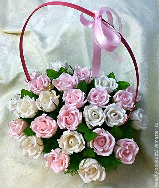 Букеты ручной работы. Ярмарка Мастеров - ручная работа. Купить Корзина с розами «Счастье». Handmade. Бледно-розовый, корзина с конфетами