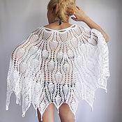 Одежда ручной работы. Ярмарка Мастеров - ручная работа Юбка пончо летняя  Белая лебедь вязаная крючком. Handmade.