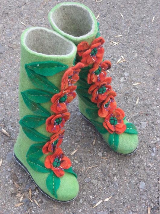 Обувь ручной работы. Ярмарка Мастеров - ручная работа. Купить валенки женские Маковая поляна. Handmade. Зеленый, маковая поляна