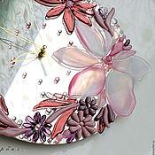 Для дома и интерьера ручной работы. Ярмарка Мастеров - ручная работа часы из стекла, фьюзинг  Розовая веточка. Handmade.