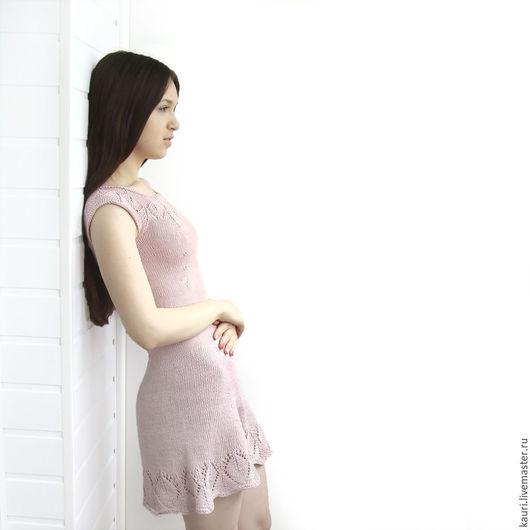 Платья ручной работы. Ярмарка Мастеров - ручная работа. Купить Платье вязаное Нежная сакура (из итальянского хлопка 100%) на заказ. Handmade.