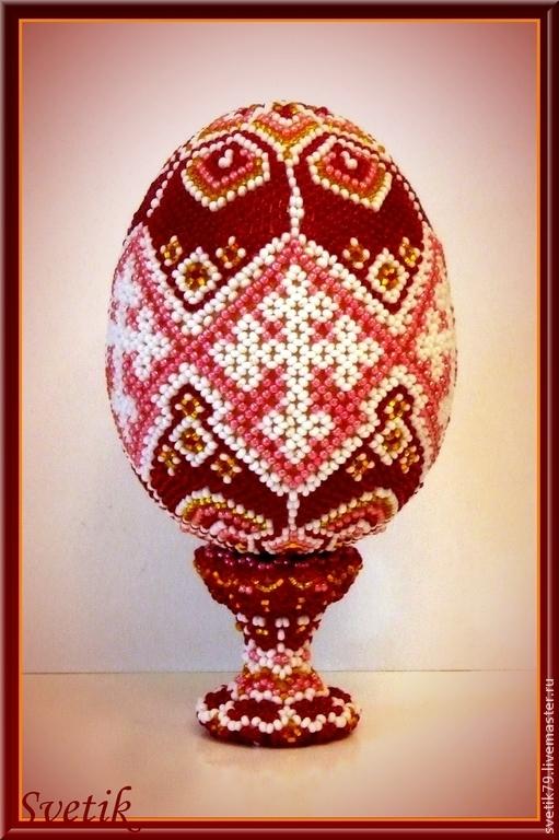 Яйца ручной работы. Ярмарка Мастеров - ручная работа. Купить яйцо оплетёное бисерное пасхальное. Handmade. Разноцветный, яйцо из бисера