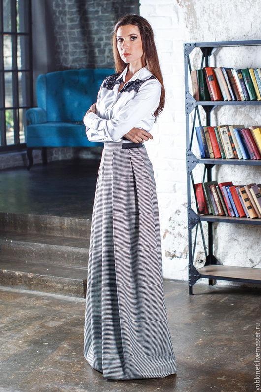 Юбки ручной работы. Ярмарка Мастеров - ручная работа. Купить Длинная юбка в мелкую клеточку. Handmade. Серый, офисная юбка
