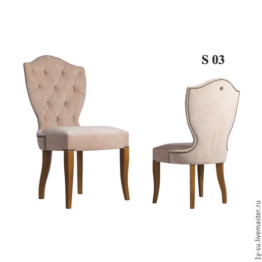 Дизайнерский стул S03 с гвоздиками и каретной стяжкой в стиле капитоне