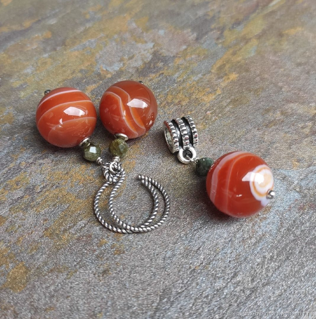 Sterling silver earrings and pendant with agate and tourmaline, Earrings, Permian,  Фото №1