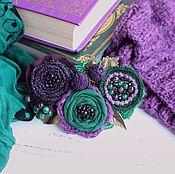 Украшения ручной работы. Ярмарка Мастеров - ручная работа Брошь Изумрудно-фиолетовая роскошь. Handmade.