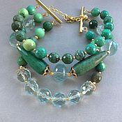 Украшения handmade. Livemaster - original item may bracelet of chrysoprase and aqua quartz. Handmade.