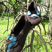 Обувь ручной работы. Ярмарка Мастеров - ручная работа Тапочки Шоколад и Бирюза. Handmade.
