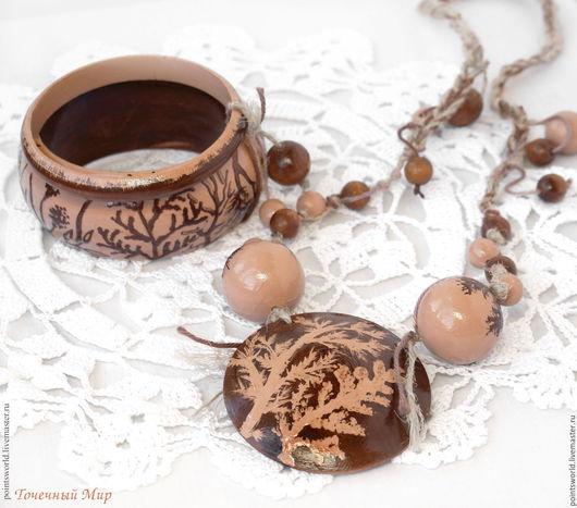 Этно украшения из дерева, браслет в стиле бохо, колье в стиле бохо, бохо колье, бохо браслеты, комплект браслетов этно, растительный орнамент, деревянные украшения, браслеты из дерева, колье из дерева