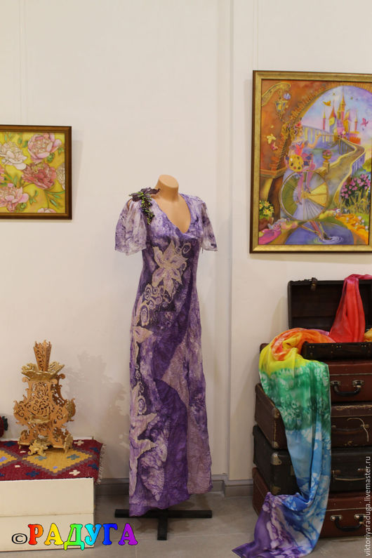 """Платья ручной работы. Ярмарка Мастеров - ручная работа. Купить Авторское платье """"Загадочный violet"""" - нуновойлок и батик. Handmade. Фиолетовый"""