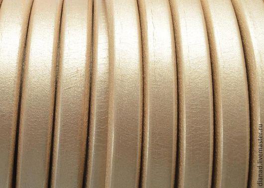 Для украшений ручной работы. Ярмарка Мастеров - ручная работа. Купить Кожаный шнур регализ, золотой перламутр. Испания. Handmade.