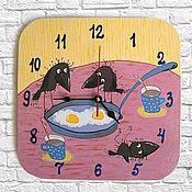Часы классические ручной работы. Ярмарка Мастеров - ручная работа Часы настенные на кухню, детские Яичница на завтрак. Handmade.