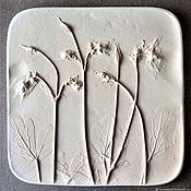 Картины и панно handmade. Livemaster - original item The watershed (18,5h18,5cm) Gypsum Botanical panels of Bas-relief. Handmade.