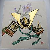 Картины и панно ручной работы. Ярмарка Мастеров - ручная работа Шлем самурая (японская живопись). Handmade.