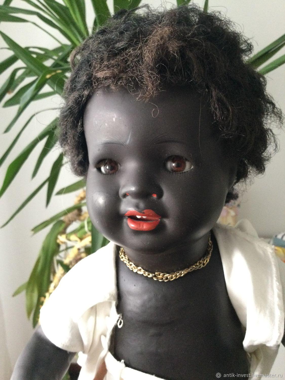 Винтаж: Негритенок Антикварная паричковая кукла König & Wernicke 47 см, Куклы винтажные, Москва,  Фото №1