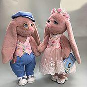 Мягкие игрушки ручной работы. Ярмарка Мастеров - ручная работа Розовые зайцы. Handmade.