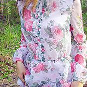 """Одежда ручной работы. Ярмарка Мастеров - ручная работа Платье из вуали """"La Vie En Rose"""" с эффектом акварели. Handmade."""