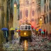 """Картины и панно ручной работы. Ярмарка Мастеров - ручная работа Картина шерстью """"Дождливый город"""". Handmade."""