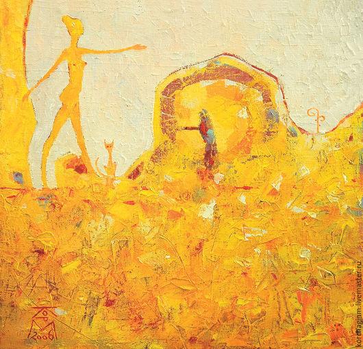 Фантазийные сюжеты ручной работы. Ярмарка Мастеров - ручная работа. Купить Мудрость Большого камня. Handmade. Желтый песок, кошка
