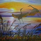 Картины и панно ручной работы. Ярмарка Мастеров - ручная работа Закатный танец. Handmade.