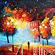 """Город ручной работы. Ярмарка Мастеров - ручная работа. Купить Картина маслом """"Осенний вечер"""". Handmade. Разноцветный, масло вечер"""