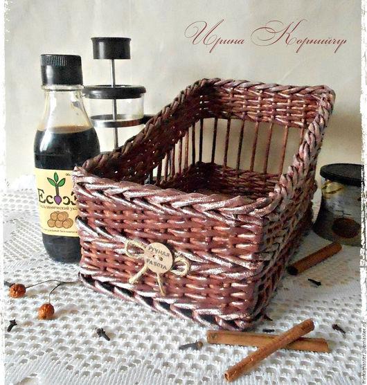 """Полки для специй ручной работы. Ярмарка Мастеров - ручная работа. Купить Плетеная корзинка для специй, приправ, трав """"Ручная работа"""". Handmade."""