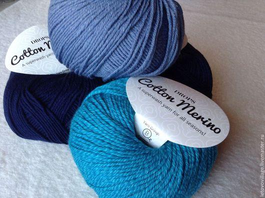 Вязание ручной работы. Ярмарка Мастеров - ручная работа. Купить Сotton merino (серо-голубой). Handmade. Голубой, хлопок с шерстью