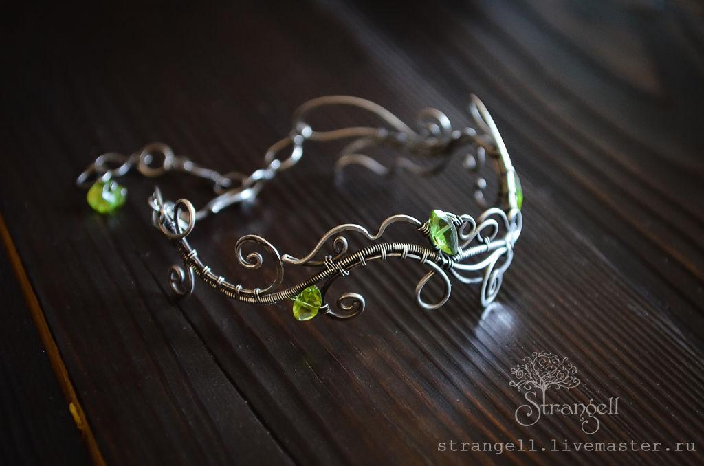 Sterling silver bracelet with chrysolite - Metal Jewelry Gems Green, Hard bracelet, Ulan-Ude,  Фото №1