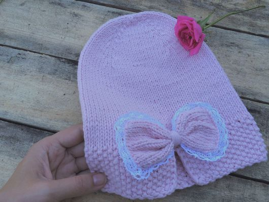 """Шапки ручной работы. Ярмарка Мастеров - ручная работа. Купить Шапка вязаная """"Бант"""". Handmade. Шапка, шапка на весну, розовый"""