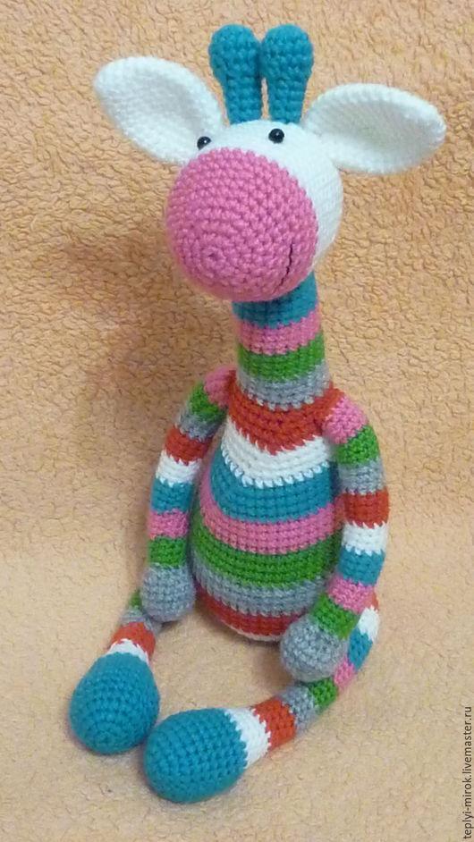 Игрушки животные, ручной работы. Ярмарка Мастеров - ручная работа. Купить Очень полосатый позитивный жираф. Handmade. Комбинированный, полосатый