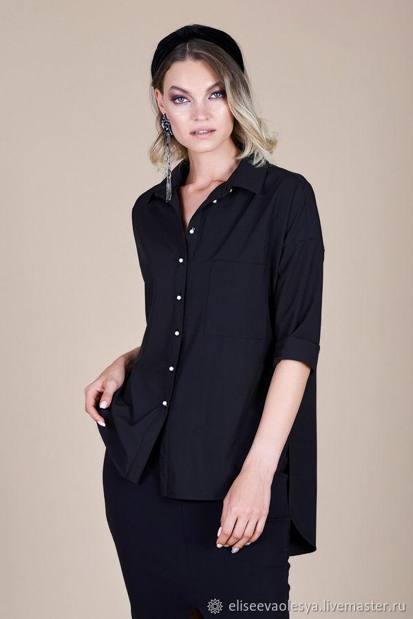 Блуза свободная черная 45831, Блузки, Новосибирск, Фото №1