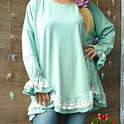 Одежда handmade. Livemaster - original item Tunic boho mint color. LARGE size.. Handmade.
