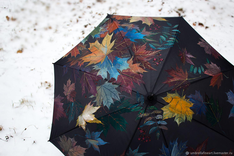 Black Umbrella print to order Autumn Leaves, Umbrellas, St. Petersburg,  Фото №1