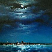 """Картины и панно ручной работы. Ярмарка Мастеров - ручная работа Картина """"Луна над Таллином"""". Handmade."""