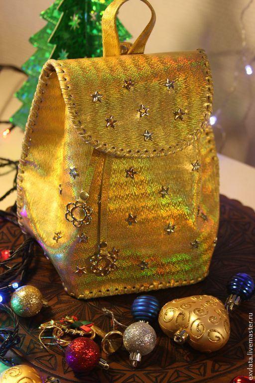 """Рюкзаки ручной работы. Ярмарка Мастеров - ручная работа. Купить Рюкзачок кожаный """"Гламурная  принцесса"""". Handmade. Золотой, принцесса"""