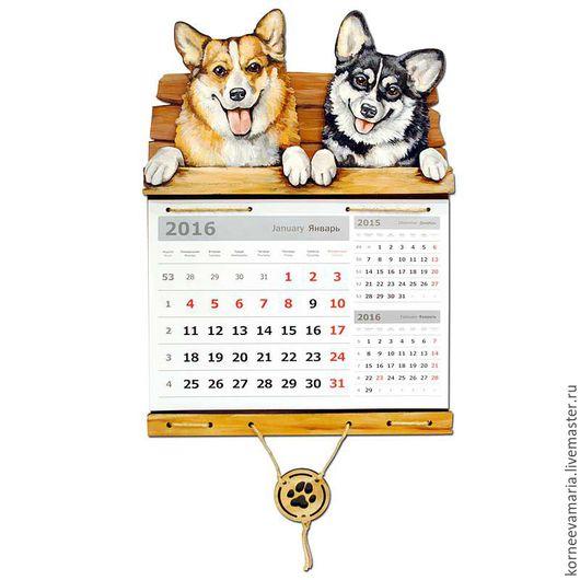 Календари ручной работы. Ярмарка Мастеров - ручная работа. Купить Настенный календарь «Вельш корги №14». Handmade. Комбинированный, собаки