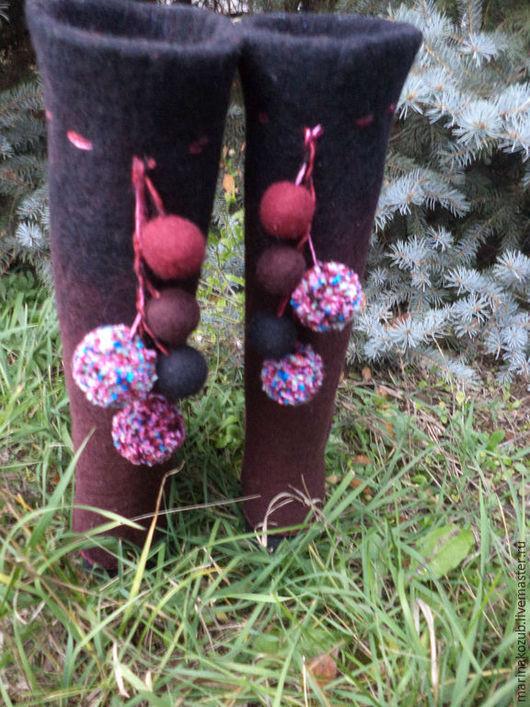 Обувь ручной работы. Ярмарка Мастеров - ручная работа. Купить валенки женские. Handmade. Бордовый, валенки ручной работы