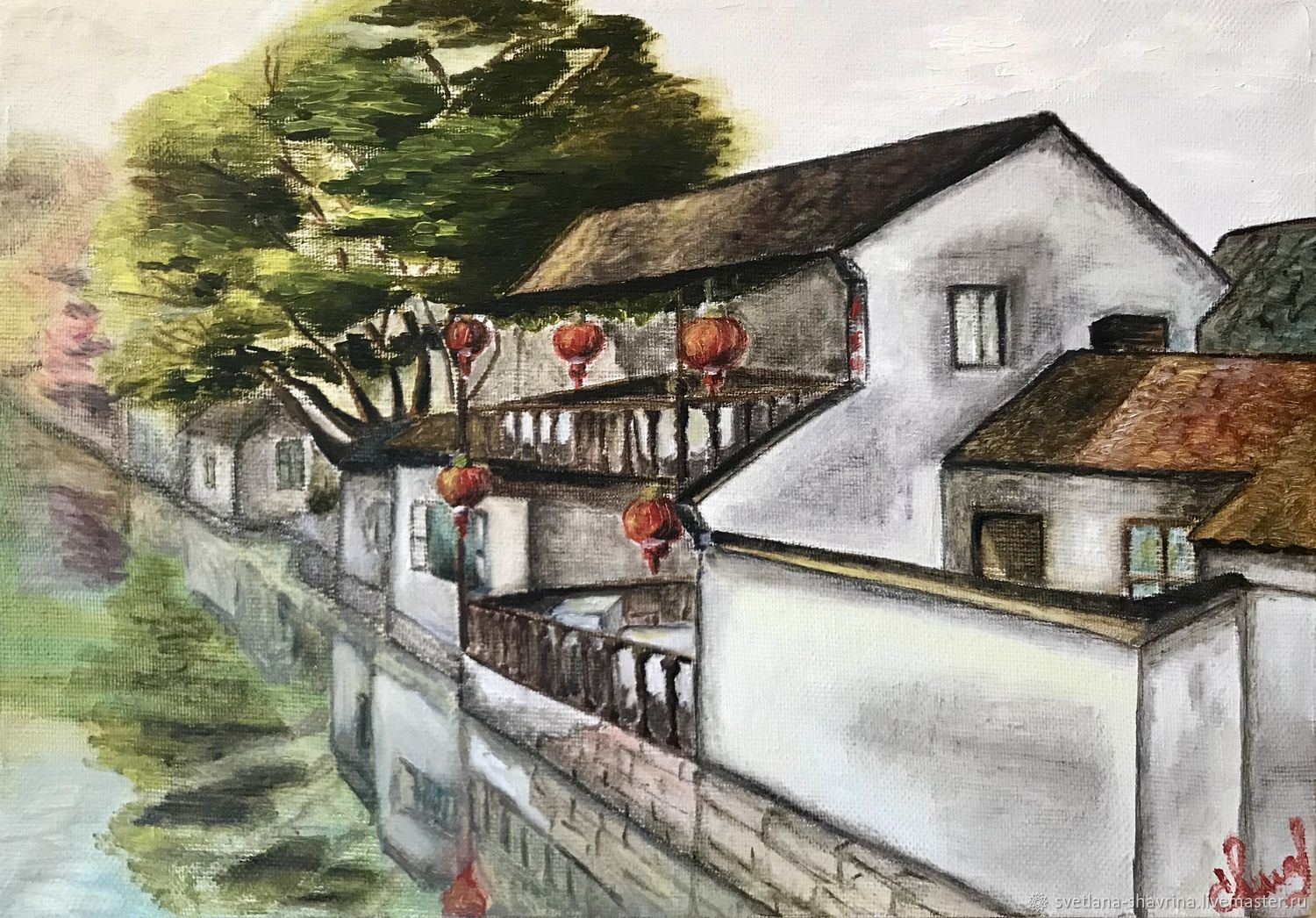 Oil painting: Chinese Venice, Zhouzhuang. M/ h, China, Pictures, Moscow,  Фото №1