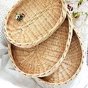 """Для дома и интерьера handmade. Livemaster - original item Три подноса, набор """"Былинки"""", три плетеные корзинки подносы. Handmade."""