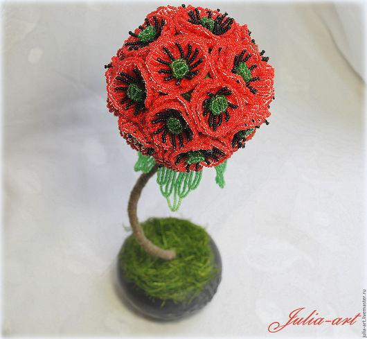 """Топиарии ручной работы. Ярмарка Мастеров - ручная работа. Купить Топиарий """"Маки"""". Handmade. Ярко-красный, цветочный топиарий"""