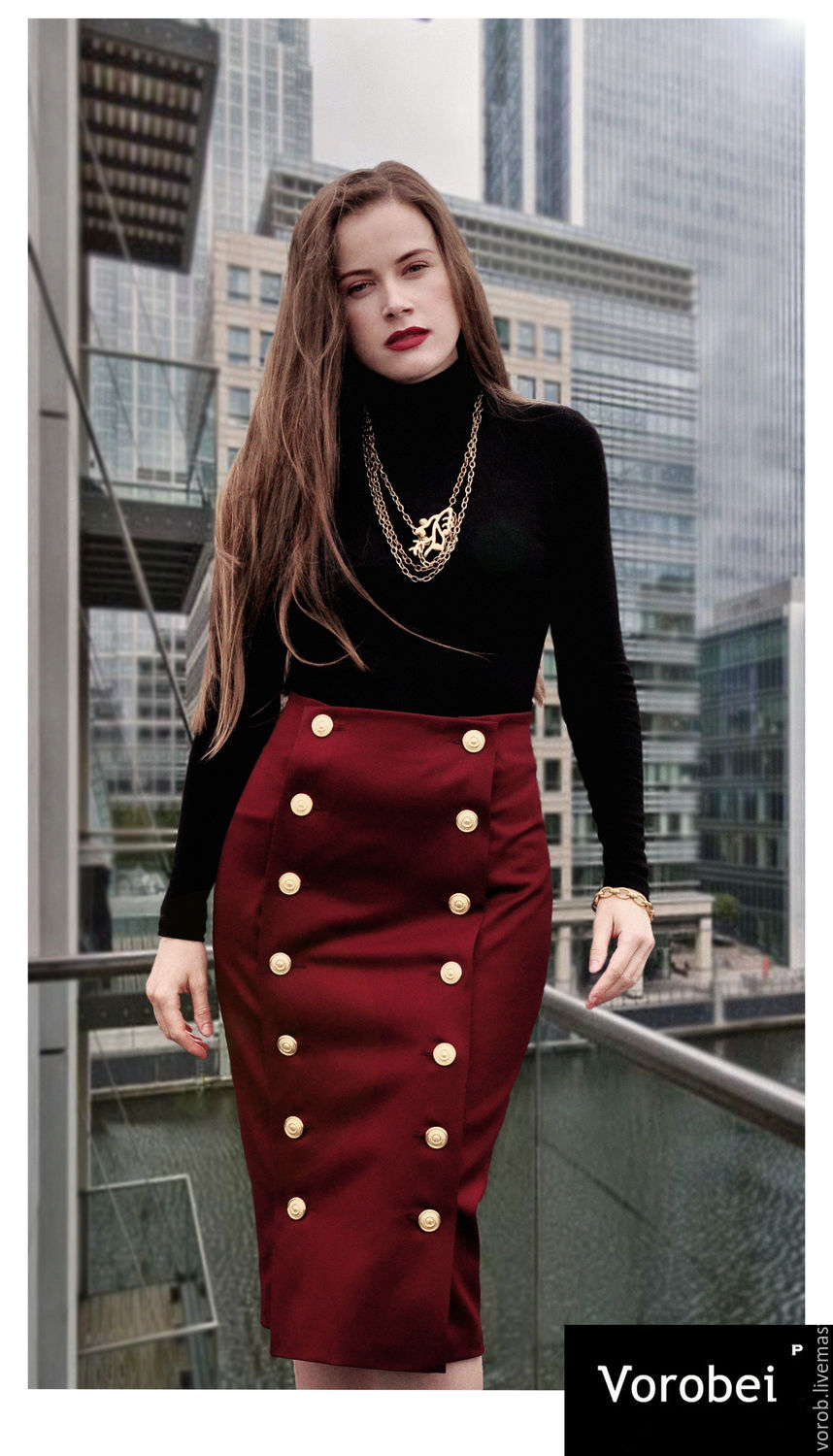Button Front Skirt. Red color, Skirts, Moscow,  Фото №1
