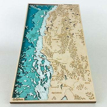 Для дома и интерьера ручной работы. Ярмарка Мастеров - ручная работа Карта Калифорния США (California USA) из дерева. Handmade.