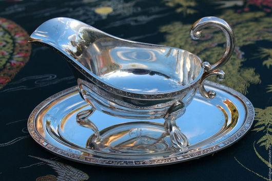 Винтажная посуда. Ярмарка Мастеров - ручная работа. Купить Соусник с блюдом,серебряное покрытие ,Англия,1940г. Handmade. Посеребрение, винтаж