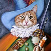 Картины и панно handmade. Livemaster - original item Oil painting Marcel (puss in boots). Handmade.