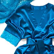 Одежда handmade. Livemaster - original item The robe is made of real silk with lace (shade 22). Handmade.