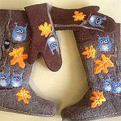 """Обувь ручной работы. Ярмарка Мастеров - ручная работа Комплек валенки и варежки""""Совы 2"""". Handmade."""