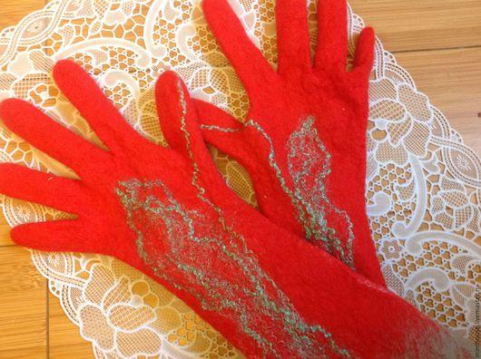 Варежки, митенки, перчатки ручной работы. Ярмарка Мастеров - ручная работа. Купить Перчатки валяные. Handmade. Рыжий, перчатки длинные