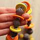Колье, бусы ручной работы. Ярмарка Мастеров - ручная работа. Купить Цитрусовый нектар Яркие бусы Лава Дерево. Handmade.