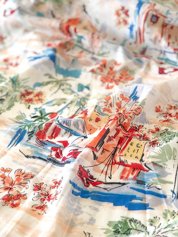 Italian Batiste Fabric Houses And Palm Trees Kupit Na Yarmarke Masterov Lh5rwcom Tkani Taganrog
