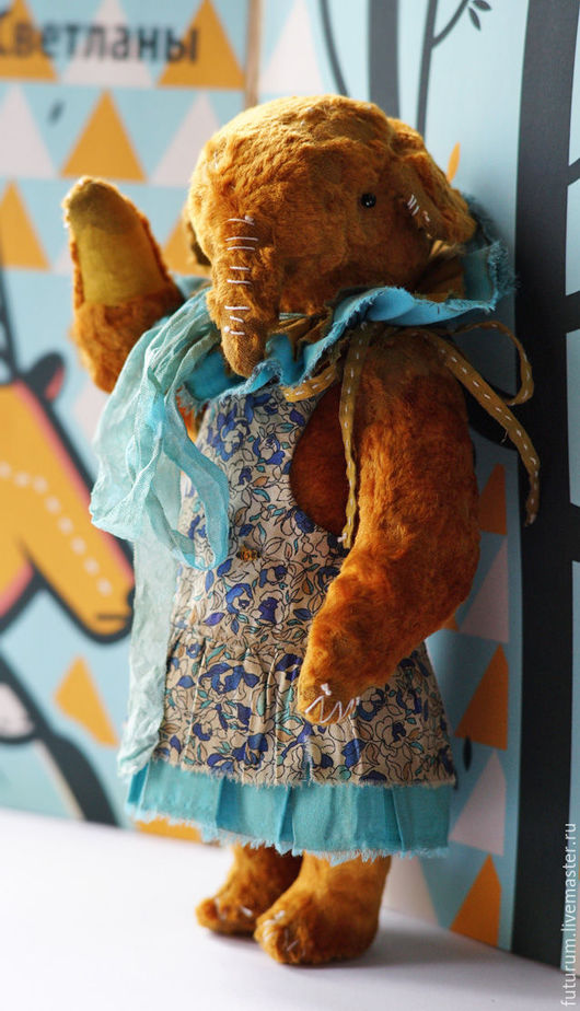 Мишки Тедди ручной работы. Ярмарка Мастеров - ручная работа. Купить Слоник Майя. Handmade. Рыжий, тедди слон, голубой